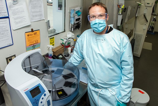 Humboldt County Public Health Laboratory Manager Jeremy Corrigan in the lab. - COURTESY OF HUMBOLDT COUNTY PUBLIC HEALTH