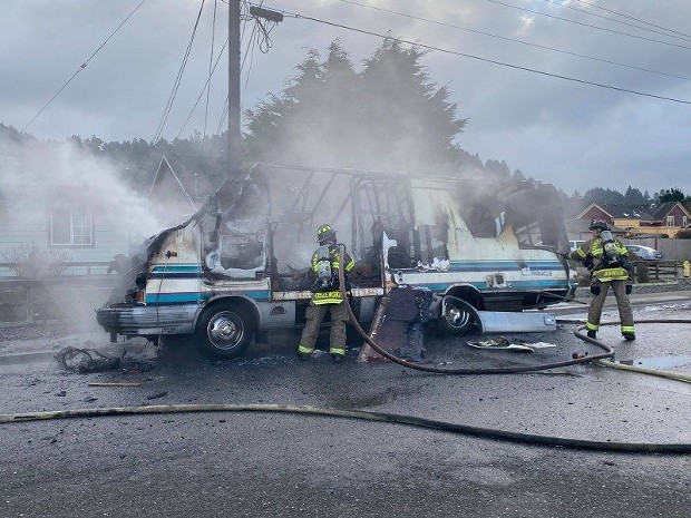 Firefighters extinguish a blaze in a motorhome this morning. - MARK MCKENNA
