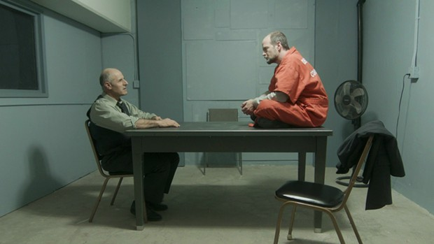 Gary C. Stillman as Det. Jared Lamb and Gavin Lyall as suspect Dean McCallum. - CONFESSION