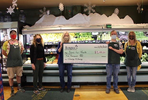 L to R: Craig Calvin - McKinleyville Store Manager, - Carly Robbins - Food For People Development Director, - Anne Holcomb - Food For People Executive Director, - Truman Felt - McKinleyville cashier who raised the most funds at $501, - Stacey Wolfe - McKinleyville cashier who the third most amount at $248.