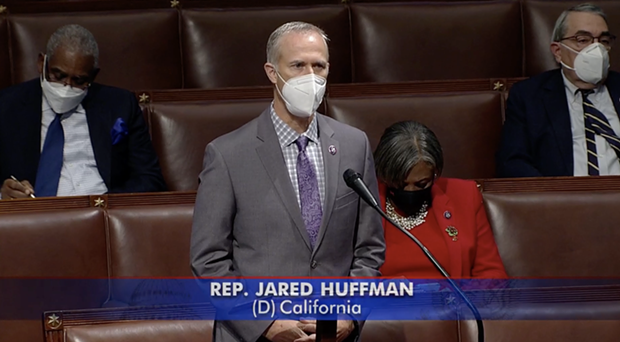Rep. Jared Huffman on the House Floor today. - SCREENSHOT