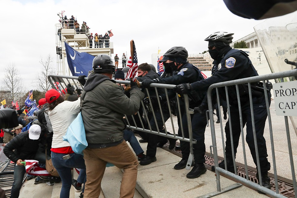 Supporters of U.S. President Donald Trump clash with police officers outside of the U.S. Capitol Building in Washington, D.C., on Jan. 6.