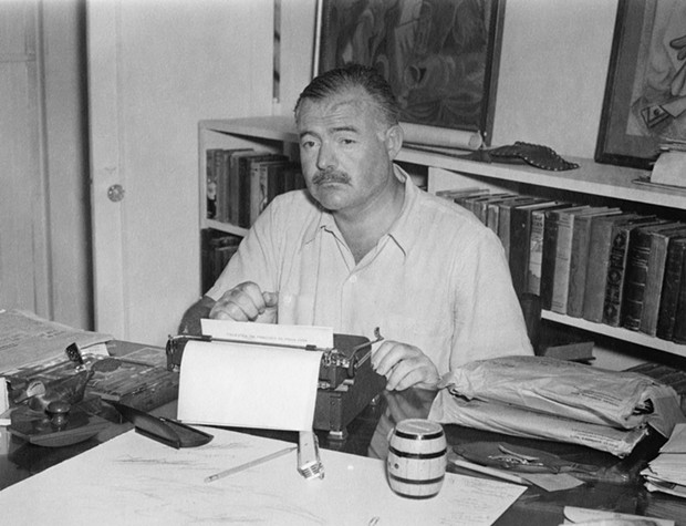 Ernest Hemingway at his home Cuba, late 1940s. - COURTESY OF ERNEST HEMINGWAY PHOTOGRAPH COLLECTION. JOHN F. KENNEDY PRESIDENTIAL LIBRARY AND MUSEUM, BOSTON