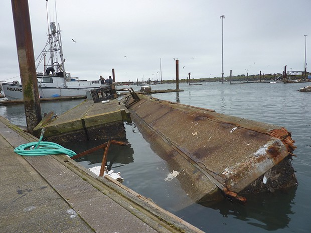 A damaged dock at the Crescent City Harbor after the March 11, 2011 tsunami generated by a devastating earthquake in Japan. - FILE PHOTO