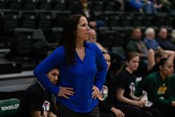 HSU Women's Basketball Coach Michelle Bento-Johnson coaching during a game last season. - HSU ATHLETICS