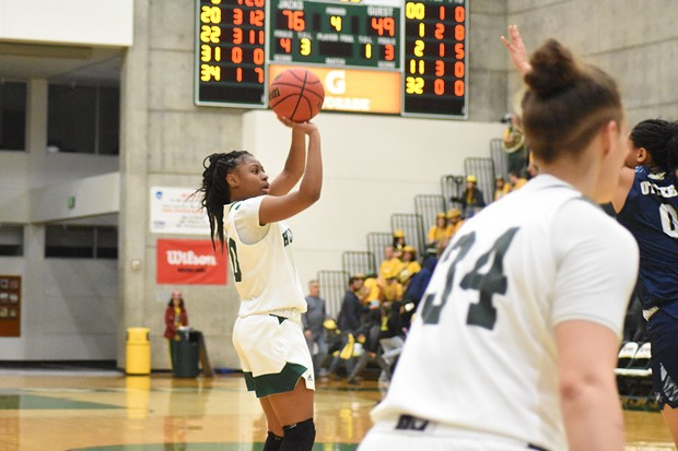 HSU women's basketball guard/forward Alexia Thrower, who graduated last spring, during a competition pre-pandemic. - HSU ATHLETICS