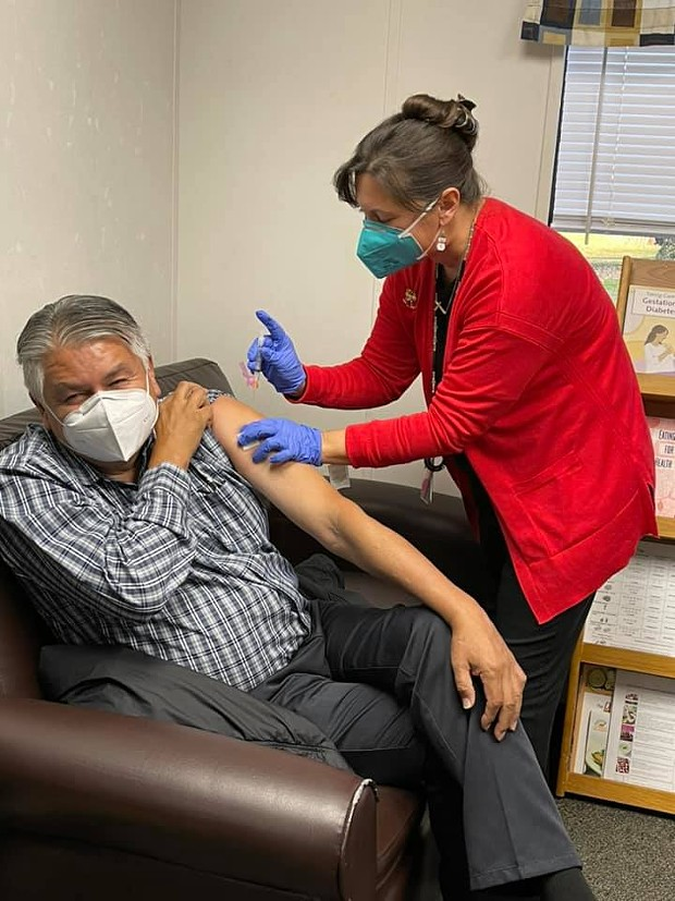K'ima:w Medical Center CEO Dr. Emmett Chase was the first to receive the Moderna vaccine in Hoopa on Dec. 23, 2020. - HOOPA VALLEY TRIBE