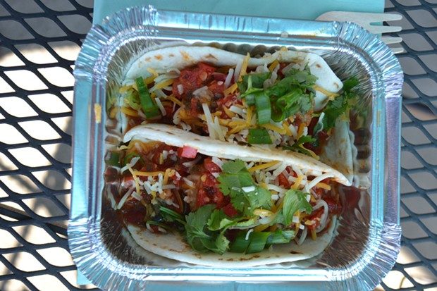 Cafe Feast's meatball tacos. - PHOTO BY MELISSA SANDERSON