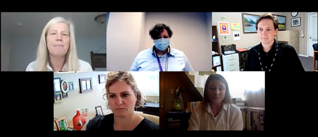 Clockwise from top left: Behavioral Health Director Emi Botzler-Rodgers, Joint Information Center spokesperson Meriah Miracle, County Health Officer  Ian Hoffman, Vaccine Task Force member Lindsey Mendez and Public Health Director Michele Stephens. - SCREENSHOT