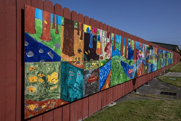 A 72-foot-long mural created by local elementary students as part of the project. - PHOTO BY MARK LARSON