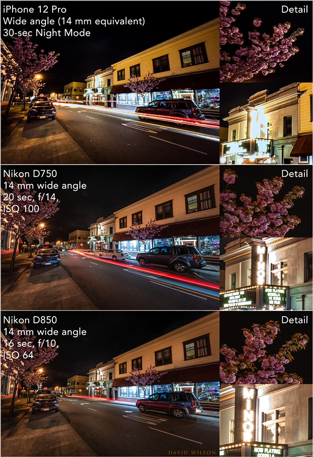 The iPhone 12 Pro's Night mode did very well on Arcata's well-lit H Street at the Arcata Minor Theatre. With enough light from the city's lights and passing cars, there was very little problem with noise (the grainy look). Compared to the Nikons, though, detail was lost in the highlights and shadows — note how the theatre's name is blown out on the marquee. In all examples here, the size of the detail images reflect the higher resolutions of the Nikon D750 and D850, respectively. - DAVID WILSON