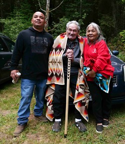 Yurok singer Dewey Jones with Brian Tripp. - PHOTO BY THOMAS DUNKLIN