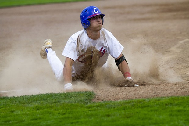 Crabs third baseman Drake Digiorno (No. 1) slides into third base for a triple before heading toward home plate to score on an error while playing against the NorCal Warriors at Arcata Ballpark on June 30, 2021. - THOMAS LAL