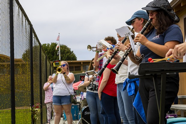 The Crab Grass Band plays the national anthem for the Fourth of July at Arcata Ballpark before the start of the Crabs game against the Solano Mudcats on July 4, 2021. - THOMAS LAL