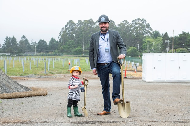 RCEA's Executive Director Matthew Marshall and his daughter Alex celebrate groundbreaking on the RCAM project - HUMBOLDT STATE UNIVERSITY