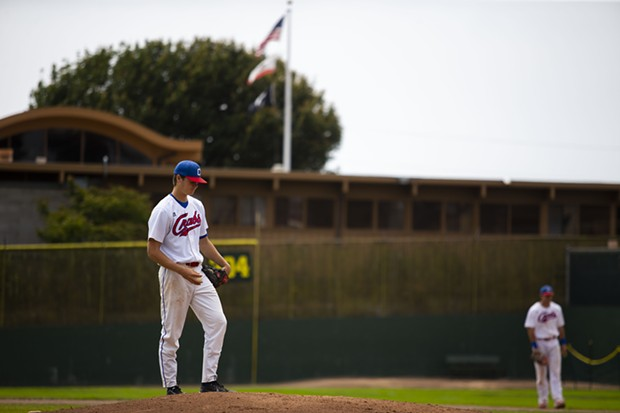Crabs pitcher Owen Stevenson pauses for a moment between pitches while facing TKB Baseball at Arcata Ballpark on July 25, 2021. Stevenson finished the game with seven strikeouts after six innings pitched and gave up just one hit. - THOMAS LAL