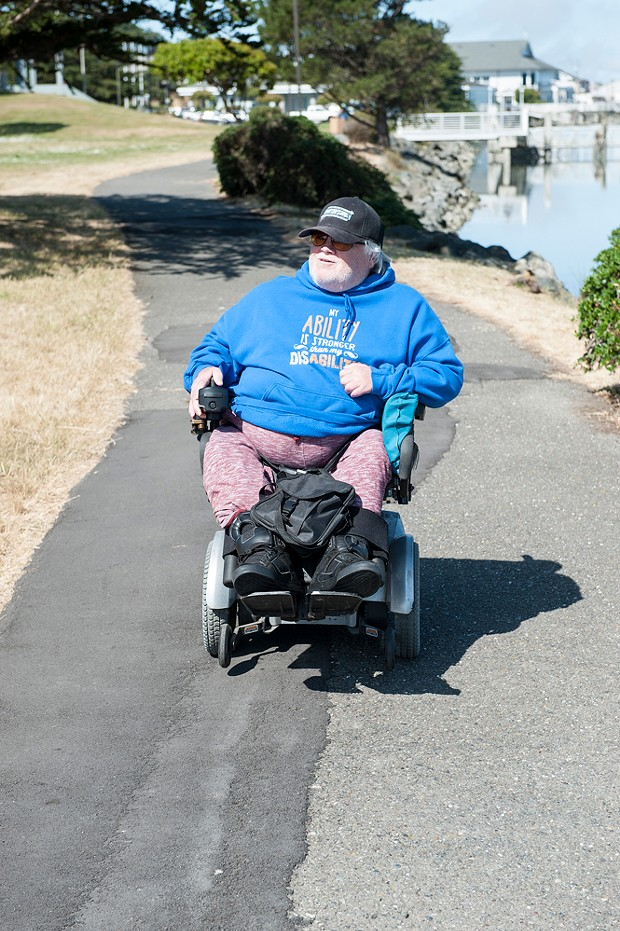 Charlie Bean used his motorized wheelchair to take a Journal reporter on a tour of ADA accessible trails in Humboldt County in 2016. - PHOTO BY MARK MCKENNA