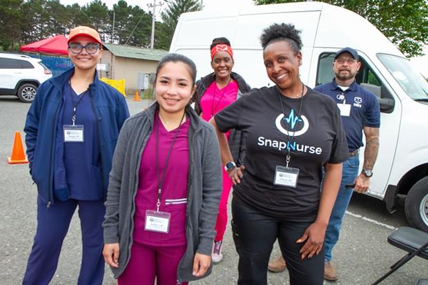 Humboldt County's SnapNurse team (left to right) Gisselle Lujan, Isobel Roa, Sharmain Kevianne, Katrina Tucker, and Robert Salazar. - PHOTO COURTESY OF HUMBOLDT COUNTY DHHS