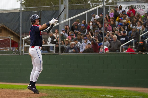 Crabs outfielder Luke Powell celebrates with the crowd after scoring against the Fresno A's on July 30, 2021 at Arcata Ballpark. - THOMAS LAL