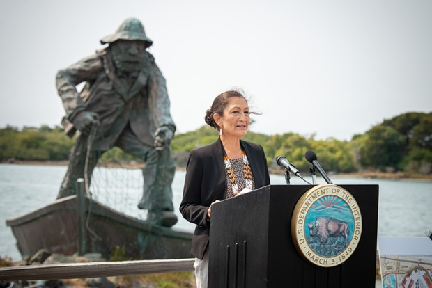 U.S. Secretary of the Interior Deb Haaland spoke to members of the community and the media during a press conference about offshore wind power and renewable energy at the Woodley Island Marina on Tuesday. - MARK MCKENNA