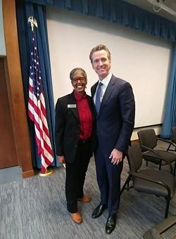 Rio Dell Mayor Debra Garnes with Gov. Gavin Newsom. - SUBMITTED