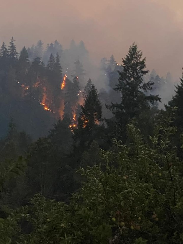 The Knob Fire burns south of Willow Creek yesterday evening. - BASHO PARKS/U.S. FOREST SERVICE FACEBOOK