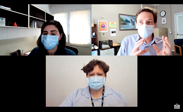 Clockwise from top left: Public Health Director Sofia Pereira, Health Officer Ian Hoffman and Joint Information Center spokesperson Meriah Miracle during yesterday's press conference. - SCREENSHOT