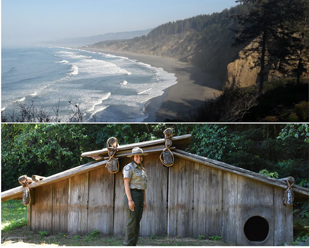 Top: Agate Beach at Patrick's Point State Park. Bottom: Maiya Rainer, Yurok Tribal member and State Park Interpreter at Sumeg Village, Patrick's Point State Park. Photos from California State Parks. - PHOTO COURTESY OF CALIFORNIA STATE PARKS