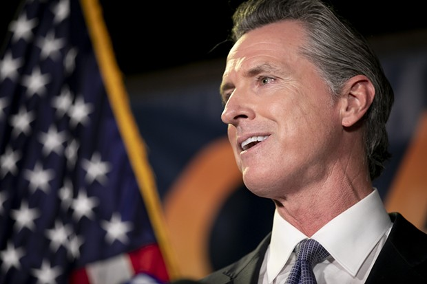 Gov. Gavin Newsom gives a speech following his projected victory in the recall election at the California Democratic Party headquarters in Sacramento on Sept. 14, 2021. - ANNE WERNIKOFF, CALMATTERS