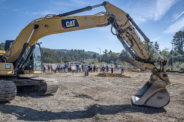 Attendees gathered at the ground-breaking event on the future site of the Arcata Communiity Health Center. - MARK LARSON