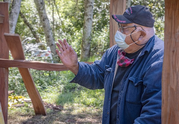 """""""My favorite part of the project has been watching the boys do the work,"""" said Walt Lara Sr, while photographed at the Sue-meg Village restoration project in May """"They're a pretty good crew and it's important that traditional people are here doing it."""" - PHOTO BY MARK A. LARSON"""