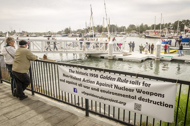 The Golden Rule was towed by tug  to the HSU aquatic center on Eureka's water front for public viewing and a second program about its history. - MARK LARSON