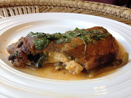 A deep, dark, satisfying relleno with cilantro garnish. - JENNIFER FUMIKO CAHILL