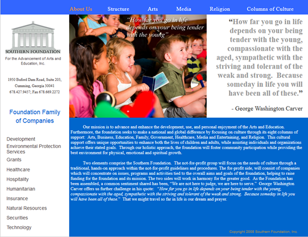 A screen shot of Southern Foundation for the Advancement of Arts and Educations' webpage.