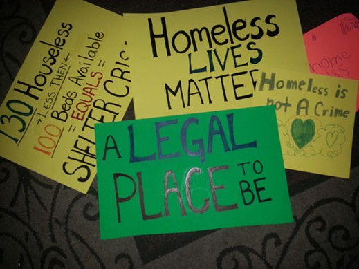 Signs prepared for today's protest. - ERIN TAYLOR