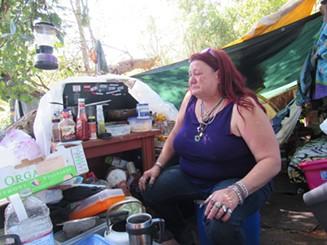 Kathleen Hytholt in her camp. - LINDA STANSBERRY