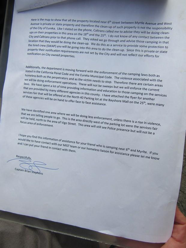 A letter from EPD Capt. Brian Stevens to Janelle Egger. - LINDA STANSBERRY