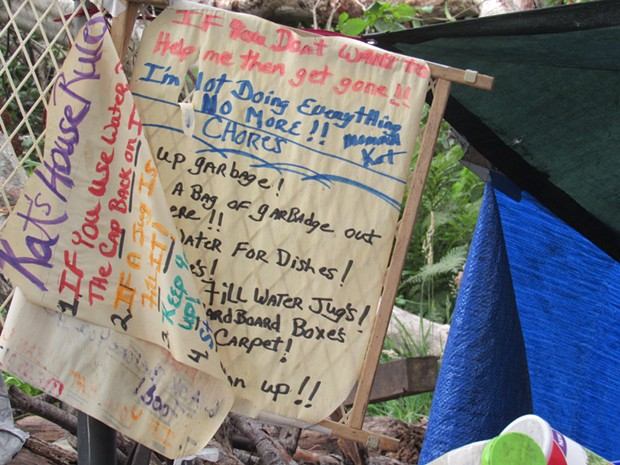 A sign at Hytholt's camp. - LINDA STANSBERRY