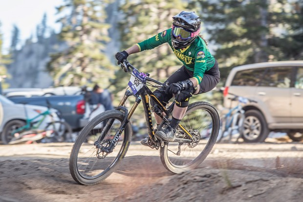 Professional downhill mountain biker Ali Osgood winning the women's A category dual slalom event at the Sky Tavern Sufferfest competition. - ALEXANDER WOODARD