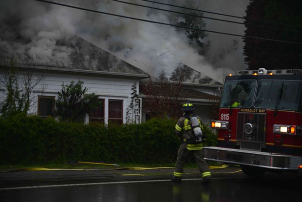 Firefighters rescued three people from a fire started by an alleged hash lab. - JESSICA ERNST