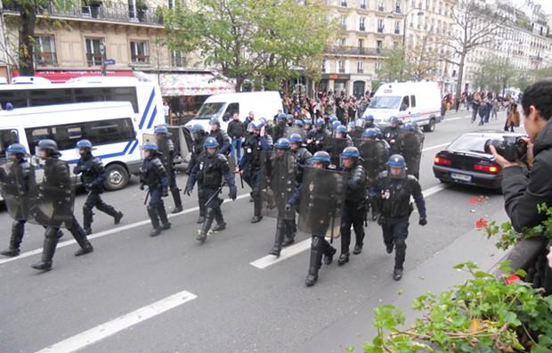 Police move to rein in a climate protest on the Plaza de Republique in Paris on Nov. 30. - DAVID SIMPSON