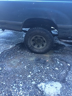 Dr. Richard Scheinman. who lives on Lighthouse Road in Petrolia, sent us a picture of the pothole he bumps over on his way to treat patients. He sent Supervisor Rex Bohn a bill for the front end repairs made to his truck and has not heard back, he reports. - RICHARD SCHEINMAN