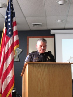 Capt. Brian Stephens at this morning's press conference. - LINDA STANSBERRY