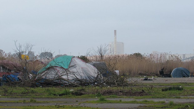 While about 70 percent of homeless people nationally are classified as sheltered, meaning they have someplace indoors to sleep at night, 64 percent of Humboldt's homeless population is unsheltered, relegated to encampments or sleeping in cars. - PHOTO BY LINDA STANSBERRY