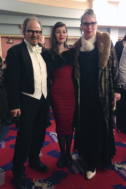 Peter, Hazel and Shirley Santino bring vintage glamour to the vintage lobby of the Eureka Theater. - JENNIFER FUMIKO CAHILL