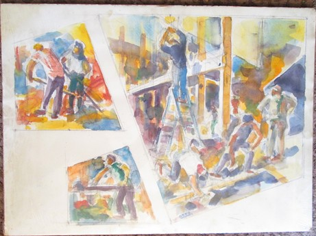 A rare watercolor painting by the late Curtis Otto. - JACK SEWELL