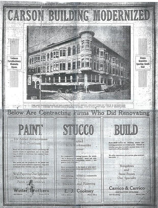 A 1924 advertisement touting the modernization of the Carson Block building. - BOB LIBERSHAL