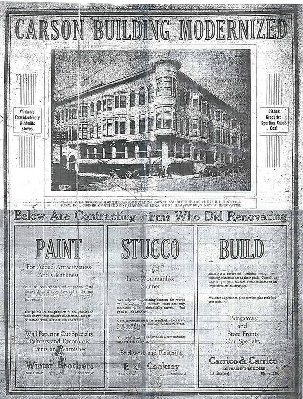 A 1924 advertisement touting the modernization of the Carson Block building. - BOB LIBERSHAL