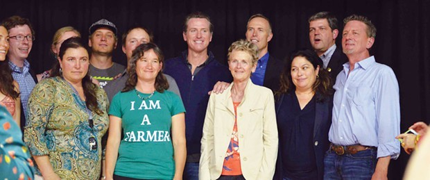 Gavin Newsom visits with pot growers and local lawmakers in Garberville. - GRANT SCOTT-GOFORTH