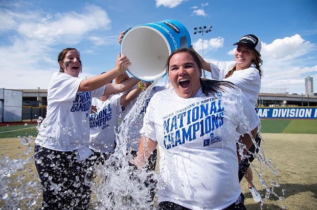 The Lions celebrate their national championship with the ice bath of victory. - FACEBOOK/UNIVERSITY OF NORTH ALABAMA